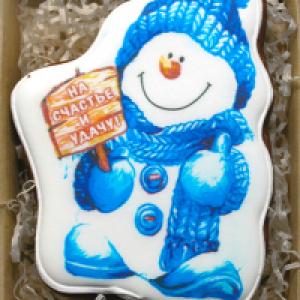 Пряник Снеговик в коробке 10*15см